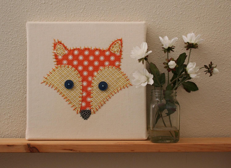 Stitched Fox Art On Canvas Nursery Art Nursey Decor Kids