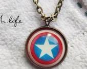SALE----The Avengers America captain shield pendant Necklace- brass-Color epoxy style
