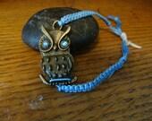 Bronze Blue Eyed Owl Charm Bracelet
