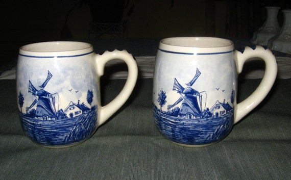 Delft Holland Blauw:  2 Handpainted Mugs with Windmill  and Flowers