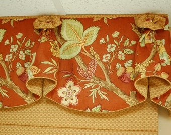 "Custom Made Valance BLOSSOM Hidden Rod Pocket Valance fits 47""- 66"" window, Your fabrics, my LABOR and Lining"