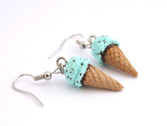 Mint Earrings - Polymer  Clay Ice Cream Cone