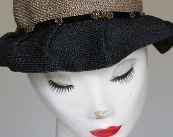 Vintage Black, Tan, and Cream Straw Hat- 22""
