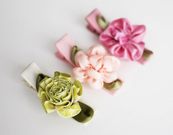 Baby Hair Clips - Set of 3 Toddler Hair Clips with Satin Flowers - Newborn Baby Toddler Hair Barrettes