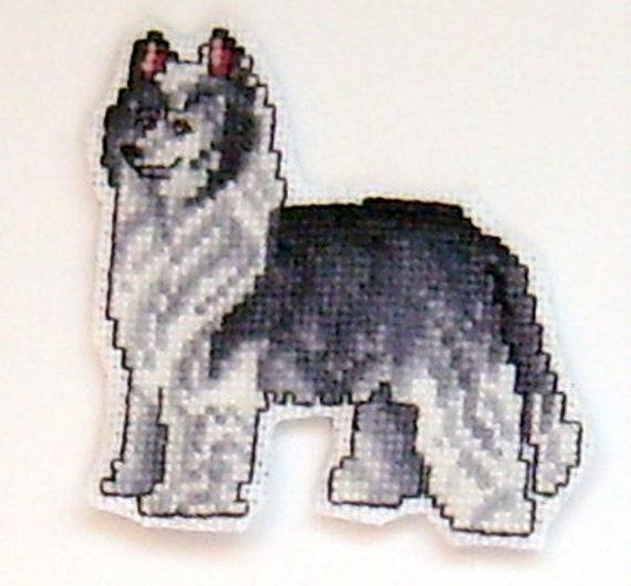 Chinese Crested Powder Puff Dog cross stitch magnet