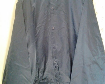 Vtg 80s Dark Blue Satin Jacket Plain Size Adult 6Xl New
