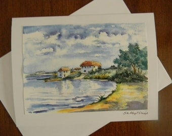 Tranquil Lake House Note Card Miniature Small Artwork by Sally Tia Crisp
