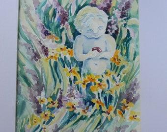 """Magical Mystical Garden Art Print Fairy Statue Flower  8.5"""" x 11"""" by Sally Tia Crisp"""