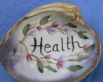 Hand Painted Lavender Clam Shell Health Inspirational Art by Sally Tia Crisp