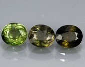 RESERVED RESERVED Moss Green Tri-Color Tourmalines Faceted Oval 2.33 Ct. 6x5mm Avg, Mozambique, Lot Size 3