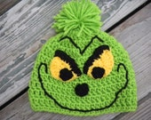 Christmas Grinch Crochet Pattern -- Pattern Includes Sizes Newborn-adult