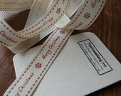 SALE // 10% DISCOUNT - Red / Cream Folk Merry Christmas Ribbon - 5 metre (5.46 yards)
