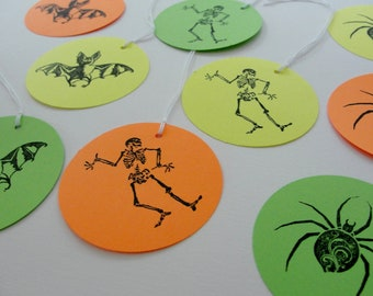 Halloween Tags Halloween Party Gift Tags Bright Green Yellow Orange Goody Bag Tags Paper Cut Outs, Bat, Spider, Skeleton Tags, Set of 12