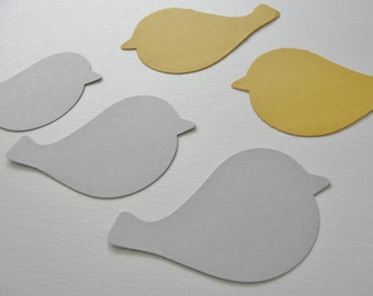 Yellow and Gray Paper Bird Cut Outs Cutouts Bird Scrapbook Embellishments Tags Decorations Set of 50
