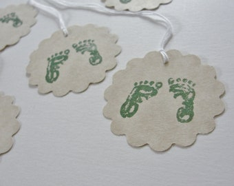 Baby Shower Gift Tags, Creamy Buff and Hunter Forest Green Baby Feet Gift Tags, Hand Stamped Paper Cutouts, New Baby Gift Tags, Set of 10