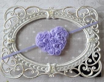MINI heart headbands, baby girl headband, vintage headband,Lavender headband, chiffon headband, heart  headband, valentines headband,
