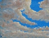 """RESERVED FOR SOPHIE Original oil painting """"Clouds"""" (5""""x7"""") unframed"""