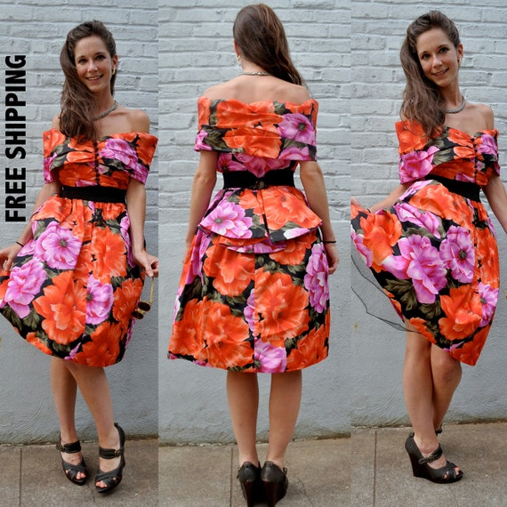 Reserved for Jackie -- VTG 80s Floral Full Circle Skirt Off shoulder Party Prom Cocktail Mini Dress S