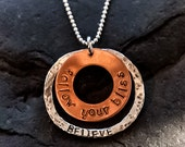 Personalized Hand Stamped Sterling Silver & Copper Customized Mantra Circles Necklace: Yoga Jewelry Vegan Jewelry Shanti Ahimsa Mantra Reiki