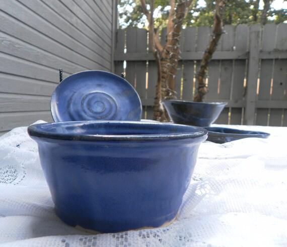 Wheel Thrown Bowl Glazed in Deep Blue