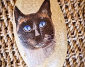 Hand painted portrait of a Siamese cat