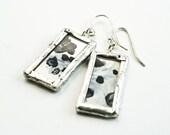 Glass Dangle Earrings - Hand Silvered Mirror, Modern Urban Steampunk Jewelry, OOAK, Fall Fashion, Gift For Her