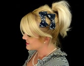 Pair of two Navy camo and anchor bow hair clips for adult/child