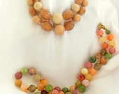Vintage Necklaces Duet - One Shades of Cream - One Multi Colored Beads