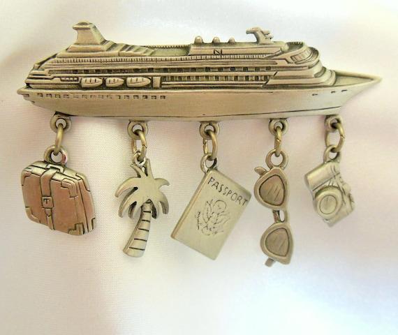 Vintage Cruise Boat Brooch signed by JJ