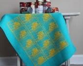 Linen Tea Towel - Teal Tea Towel - Hand Printed Tea Towel - CujiCoo Dishcloth - Stamp Tea Towel - Organic Tea Towel - 26 x 18 Tea Towel