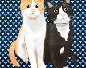 "Two Pets - Custom Pet Portrait: 8"" x 8"" print"