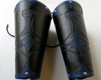 Leather Bracers - Mjolnir Thor's Hammer (Midnight Blue)