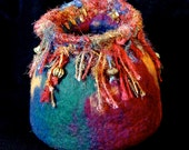 Vase, Colorful, Wool Felted, Funky, Wrapped Wire & Beads