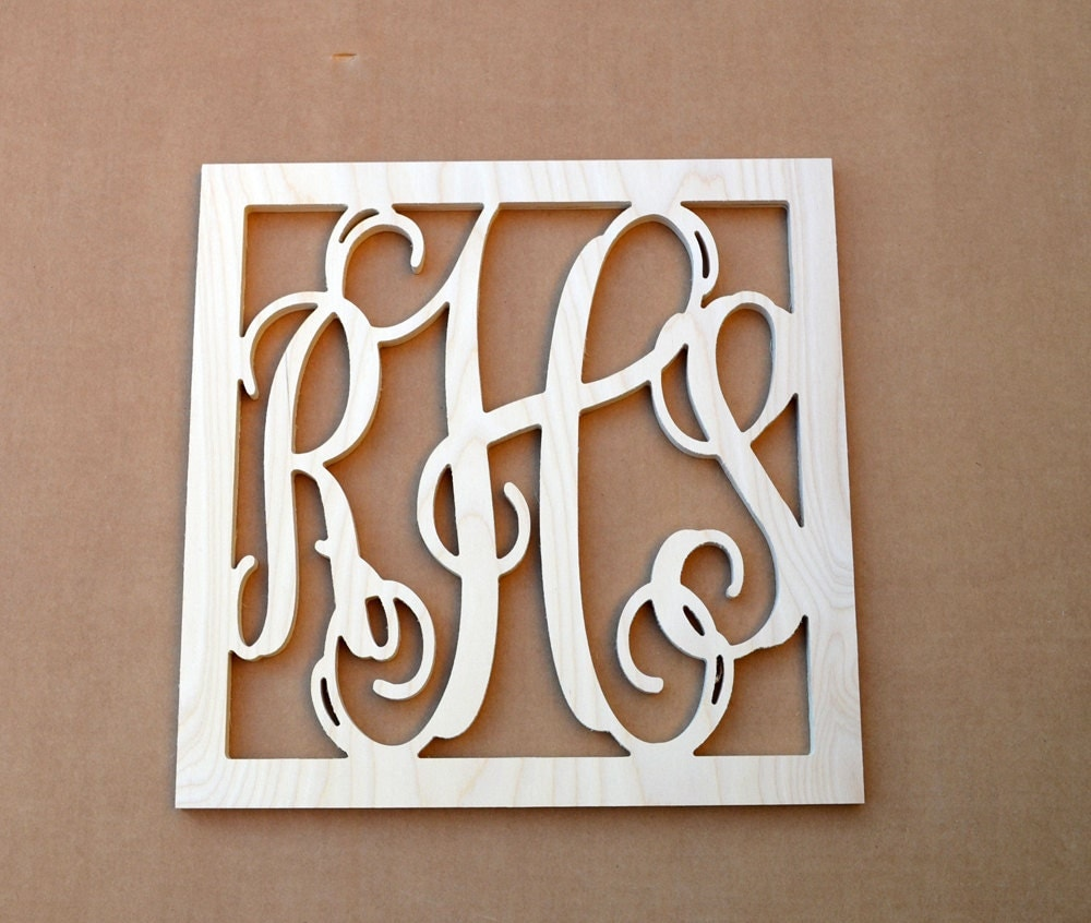 24 inch large vine connected wooden monogram letters for Large initial letters
