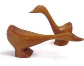 1970s Carved Wooden Ducks, Retro Modern Wood Carvings, Duck Carving, Hand Carved Vintage Birds, Retro 1970s Decor