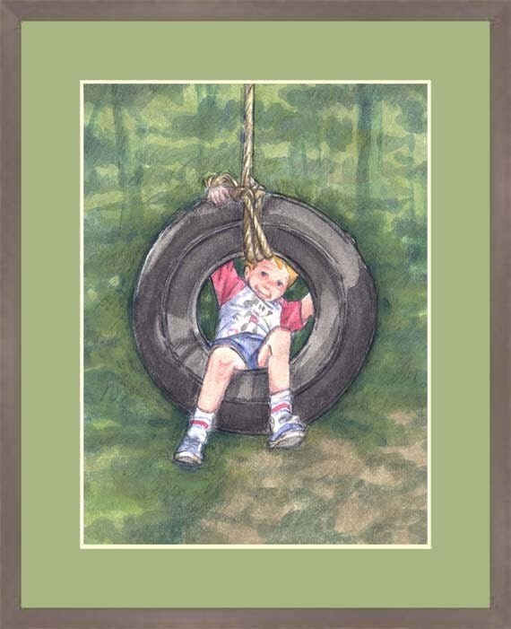 "Children's Art Print  "" The Boy and The Tire Swing"" - Unframed Print"