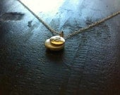 Hand Stamped Initial Gold Charm Necklace & fresh water pearl, birthstone necklace
