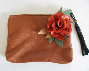 Leather / Red Leather Rose Clutch Bag / Cosmetic Bag / Hand Bag