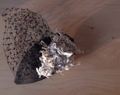 Shred the Evidence - Silk Dupion Fascinator with shredded newsprint fabric and faux pearl trim - reserved for Jaqui