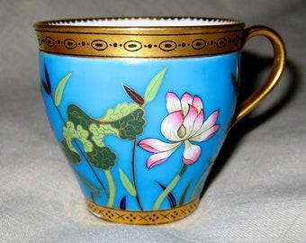 Christopher Dresser / Minton Porcelain Demitasse Cup Turquoise Cloisonne Aesthetic Design