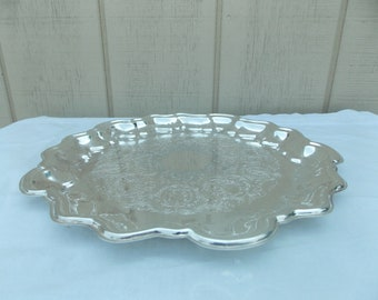 Vintage Medium Silver Plated Scalloped Edge Tray