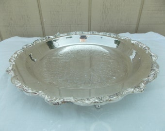 Vintage  Silver Plated Pedestal Tray by Poole Silver