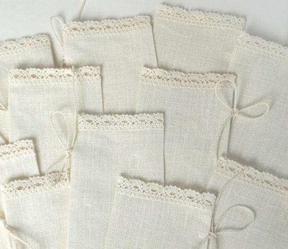 Ivory favor sachets linen burlap with lace, wedding favor bags set of 10 linen burlap gift bags candy bar bags