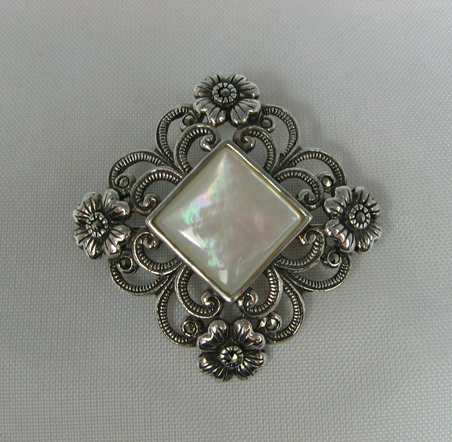 Vintage Mother Of Pearl Brooch Sterling Silver Floral Frame