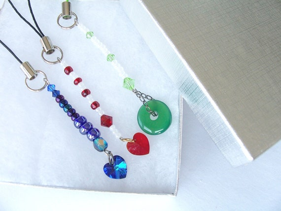 3 Gorgeous mixed charm clips for cell phones, handbags, purses, bags, backpacks and key chains - heart clips