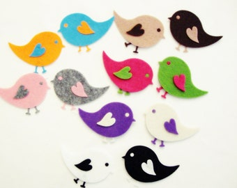 Die Cut Felt Winged Baby Bird For Easter DIY Kits, Spring Themes - Felt Baby Bird - 36 Pieces, 9 Set