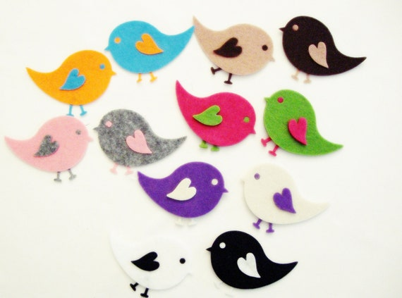 Die Cut Felt Winged Baby Bird For Easter DIY Kits, Spring Themes - Felt Baby Bird - 36 Pieces, 9 Set
