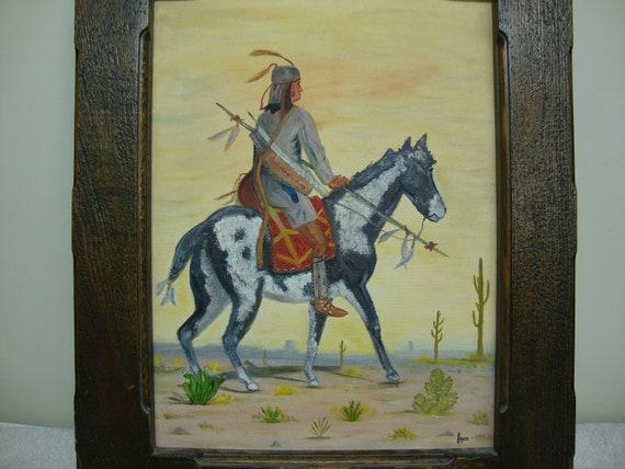 Indian On Horseback Canvas Painting