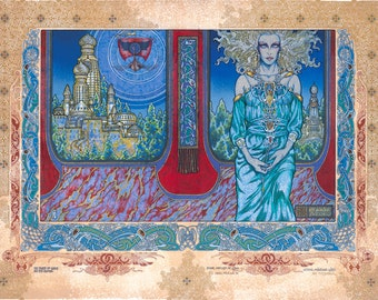 """Celtic Irish Fantasy Art 'Ethne Mother Of Lugh' Signed and numbered Limited Edition Print 23x16"""". Ireland."""
