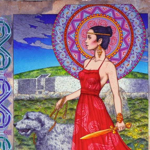 Celtic Irish Warrior Princess - Fine Art Print 16x11, made in Ireland. Celtic Art Print, Irish Wolfhound Dog, Newgrange, Legend, Red Dress.